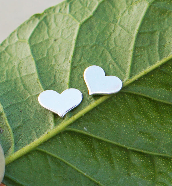 Sterling Silver Wide Heart Studs