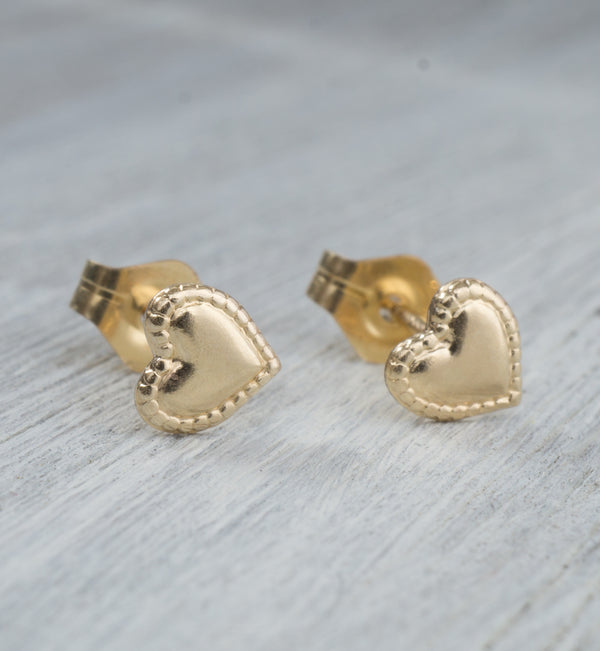 Gold Filled Stitched Heart Studs