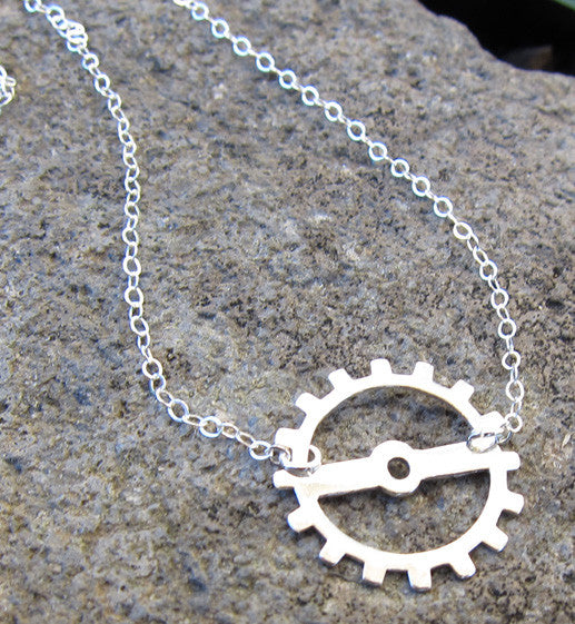 Sterling Silver Gear Charm Necklace