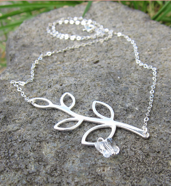 Sterling Silver Butterfly Leaf Branch Necklace