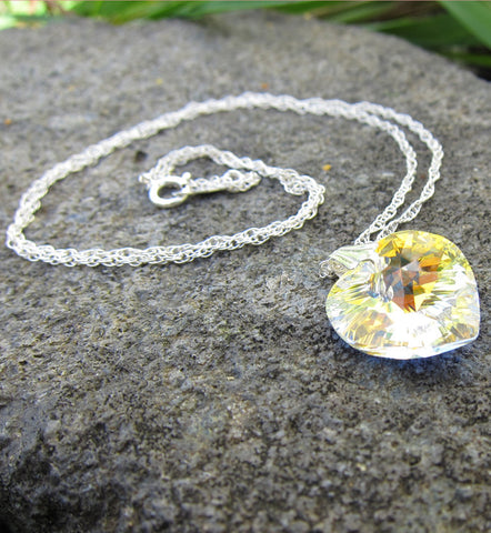 Sterling Silver Swarovski Heart Necklace