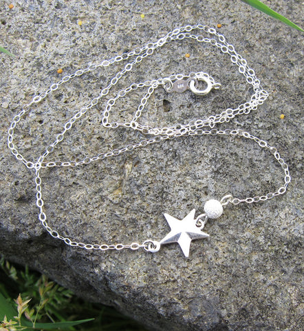 Sterling Silver Side Star Necklace