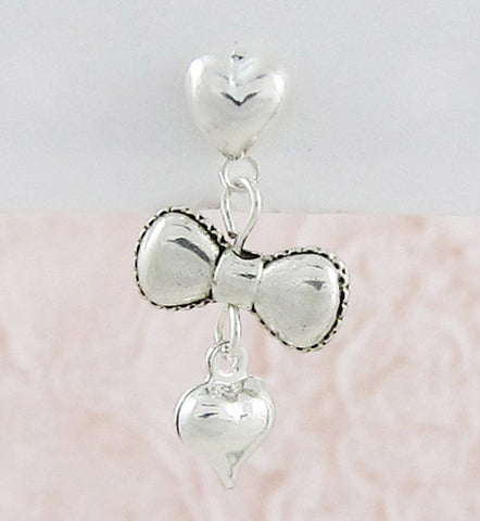 Heart to Heart Bow Single Earring