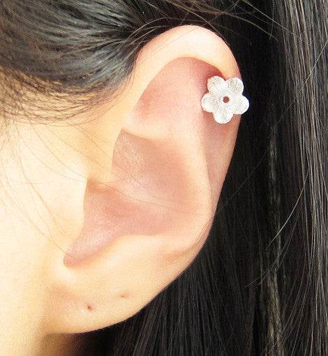 Sterling Silver Brushed Flower Stud
