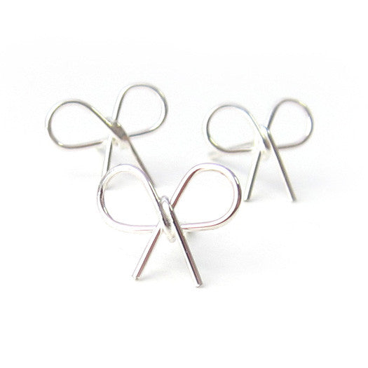 Sterling Silver Small Bow Knot Single Earring