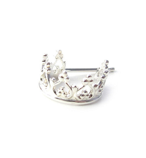 Sterling Silver Princess Crown Cuff Stud