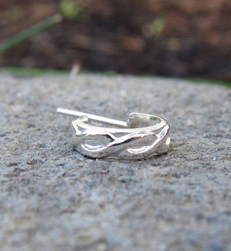 Sterling Silver Swirl Cuff Single Earring