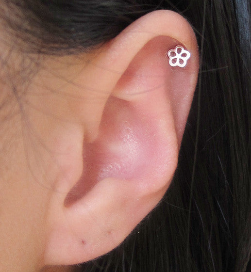 Sterling Silver Single Flower Stud