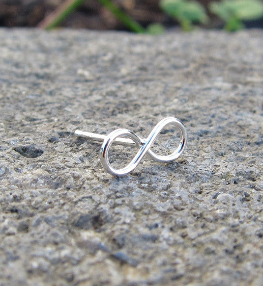 Sterling Silver Infinity Single Stud