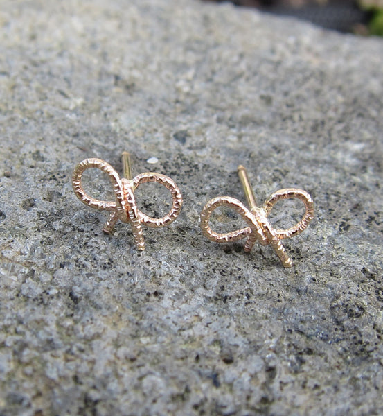 Gold Filled Glittered Bow Knot Single Stud