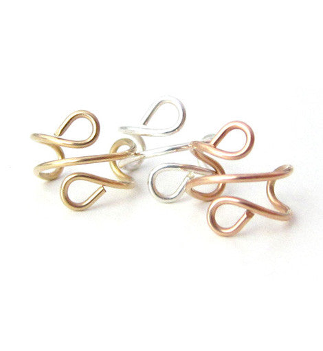 Sterling Silver, Gold-Filled, Rose Gold-Filled Ear Cuff Set