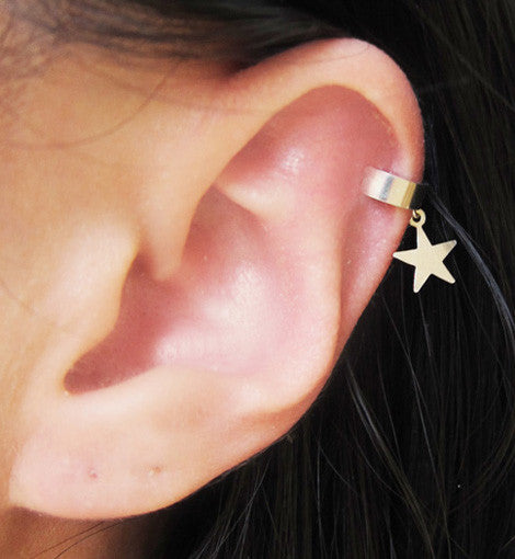 Sterling Silver Star Solid Band Ear Cuff