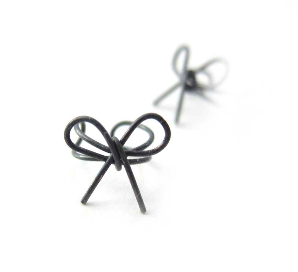 Oxidized Sterling Silver Bow Knot Ear Cuff