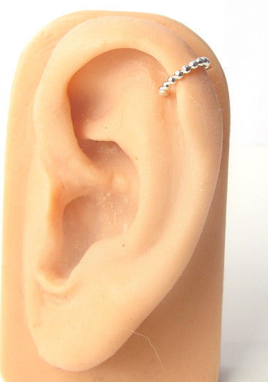 Sterling Silver Ball Wire Ear Cuff