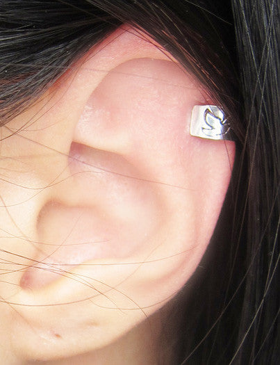 Sterling Silver Dove Solid Band Ear Cuff