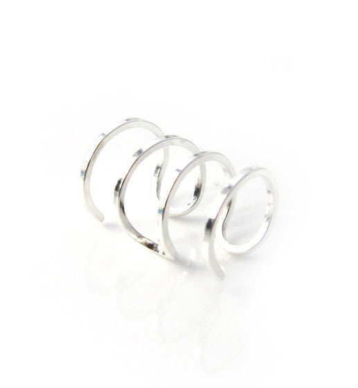Sterling Silver Four Ring Ear Cuff