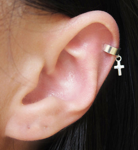 Sterling Silver Mini Cross Dangle Ear Cuff