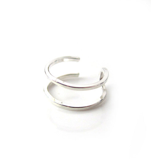 Sterling Silver Two Ring Ear Cuff