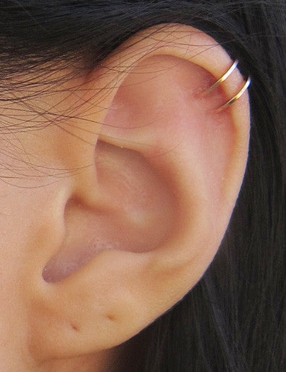 Rose Gold Filled Two Ring Ear Cuff