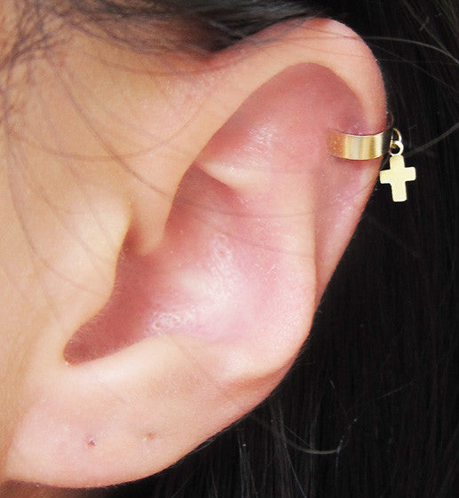 Gold Filled Dangle Cross Ear Cuff