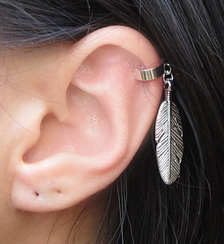 Large Feather Sterling Silver Ear Cuff