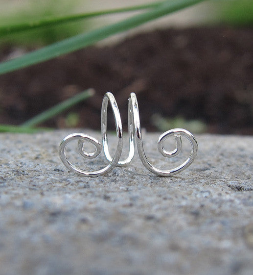 Sterling Silver Two Swirl Ear Cuff