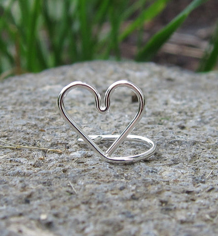 Sterling Silver Love Heart Ear Cuff