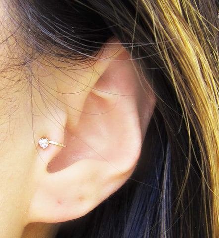 Gold Filled Cubic Zirconia Tragus Ear Cuff