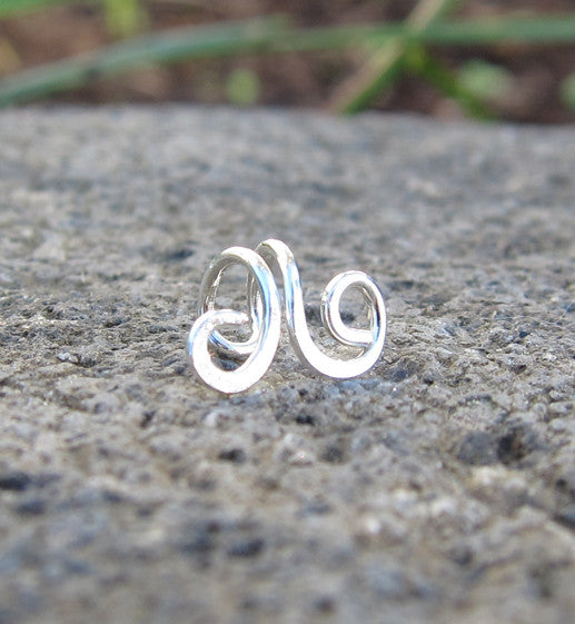 Sterling Silver Small Swirl Tragus Ear Cuff