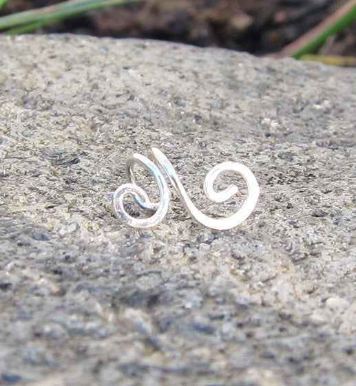 Sterling Silver Large Swirl Tragus Ear Cuff