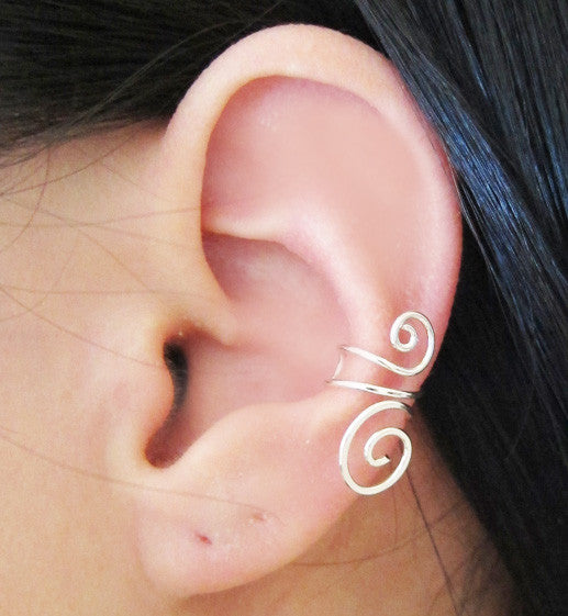 Sterling Silver Large Swirl Ear Cuff