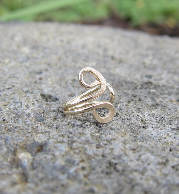 Gold Filled Small Swirl Tragus Ear Cuff