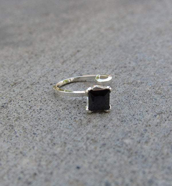 Sterling Silver Square Black Cubic Zirconia Ear Cuff
