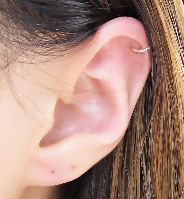 Rose Gold Filled Glittered Ring Ear Cuff