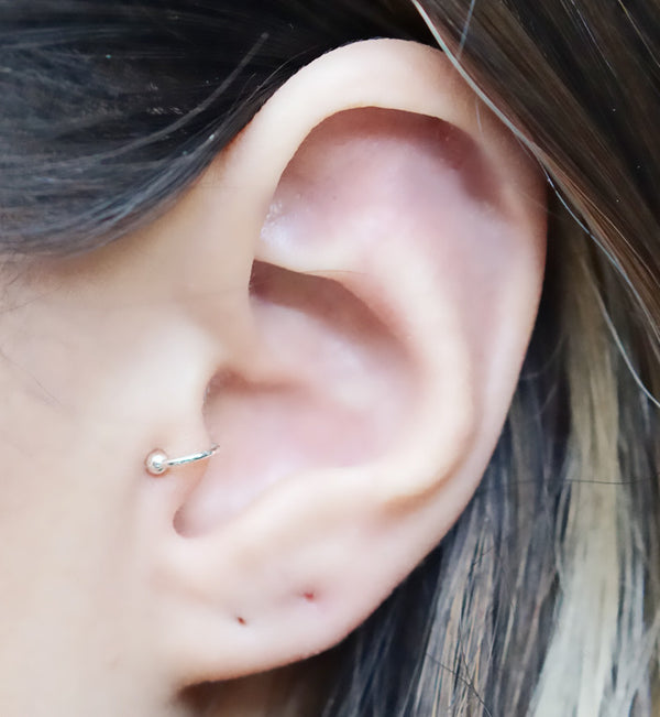 Sterling Silver Ball Tragus Ear Cuff