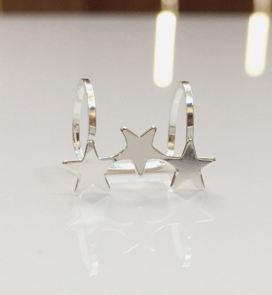 Sterling Silver Three Star Ear Cuff