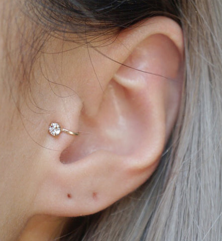 Gold Filled 3mm CZ Tragus Ear Cuff