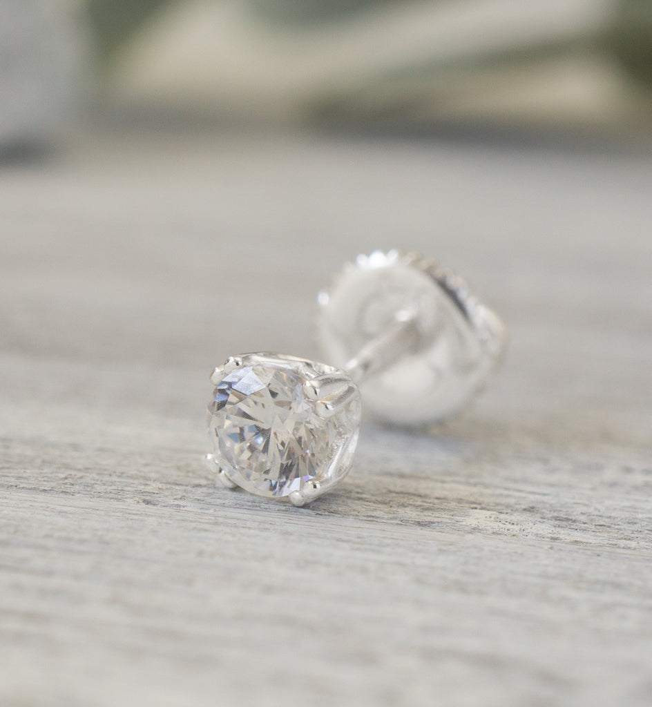 Sterling Silver 4mm CZ Threaded Stud