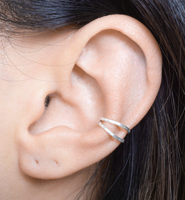 Sterling Silver Double Ring Cartilage Ear Cuff Earring