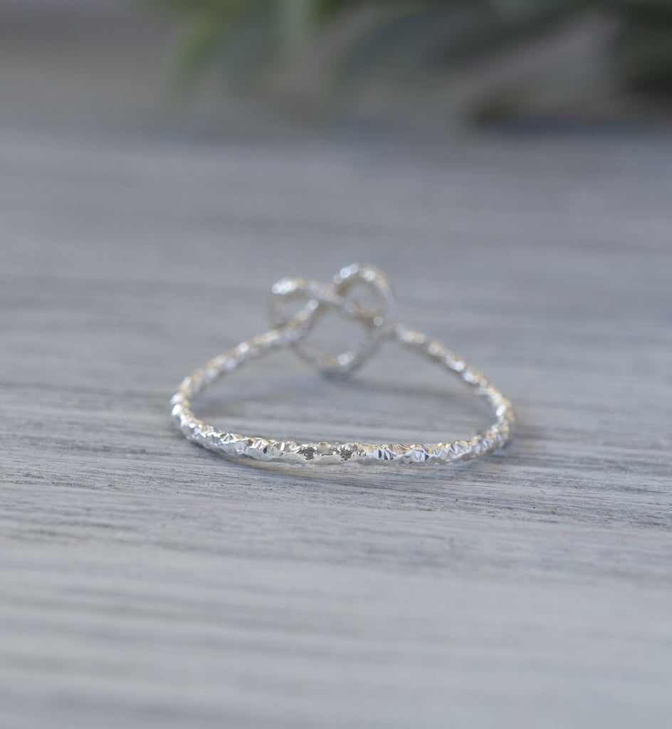 Sterling Silver Heart Knot Ring Simplicity Charms