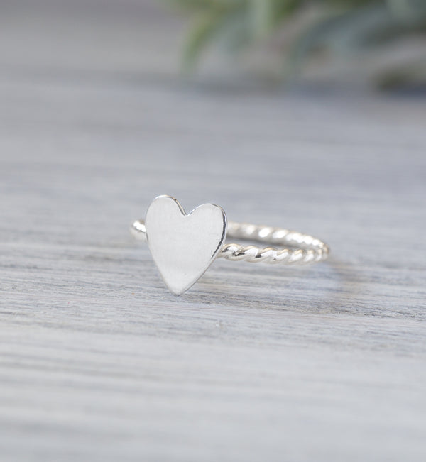 Sterling Silver Heart Swirl Ring