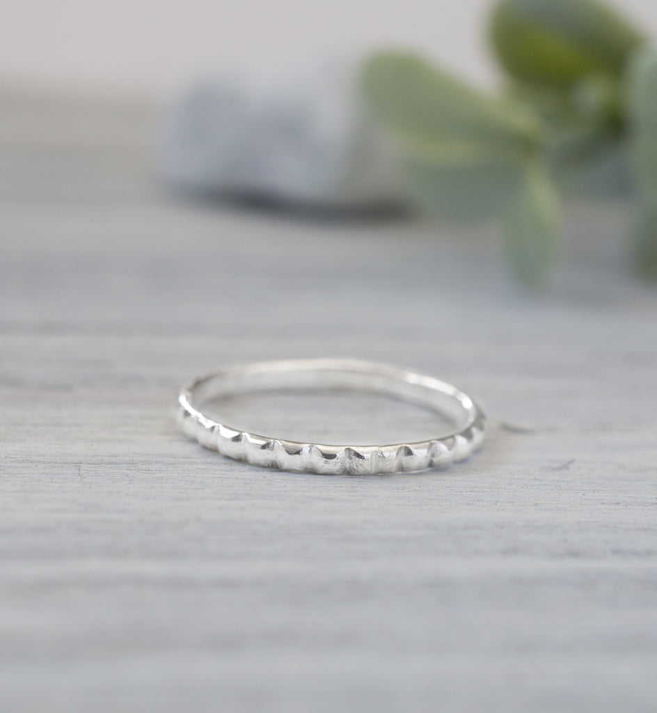 Sterling Silver Square Pattern Ring