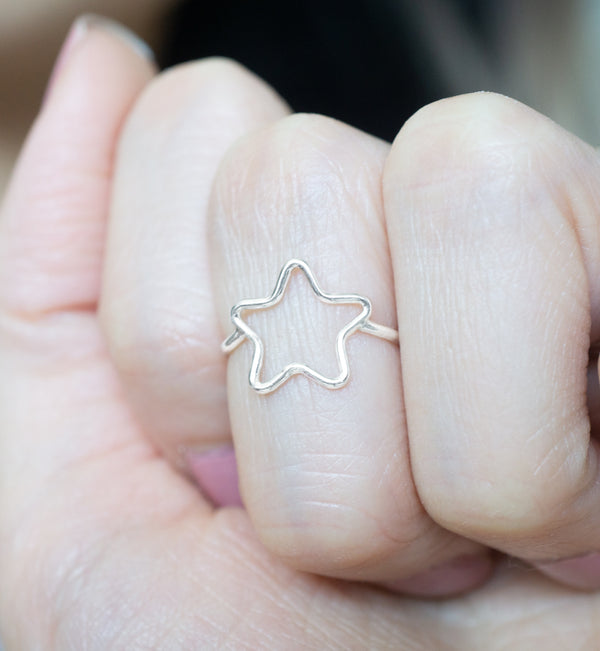 Sterling Silver Star Frame Ring