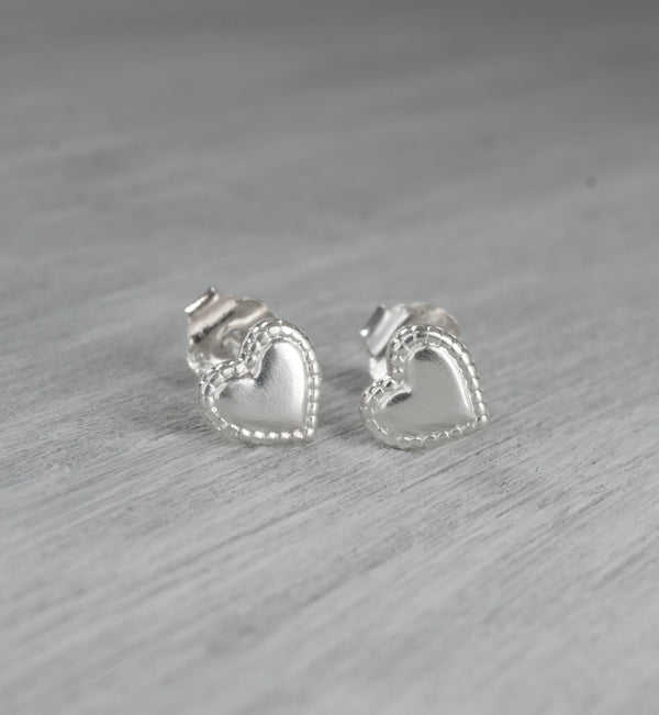 Sterling Silver Stitched Heart Studs