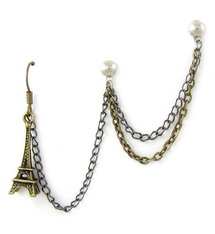 Bronze Eiffel Tower Double Chain Cartilage Triple Piercing