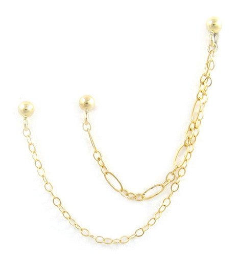14k Gold Filled Oval Loop Chain Cartilage Triple Piercing