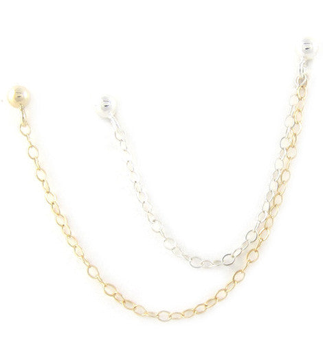 Sterling Silver & Gold Filled Chains Triple Piercing