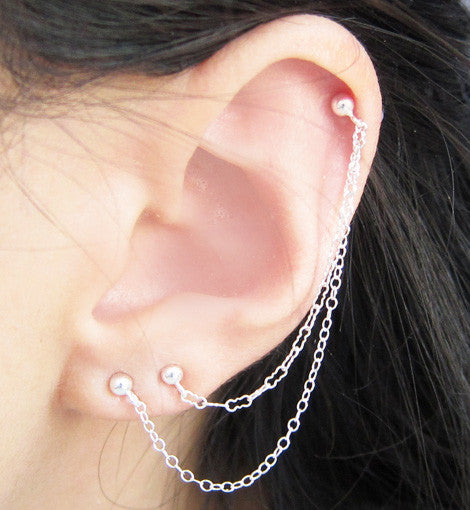 Sterling Silver Krinkle and Cable Chain Triple Piercing