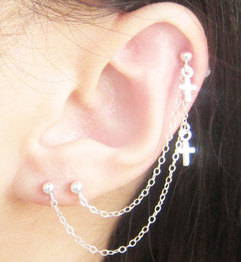 Sterling Silver Mini Crosses Triple Piercing