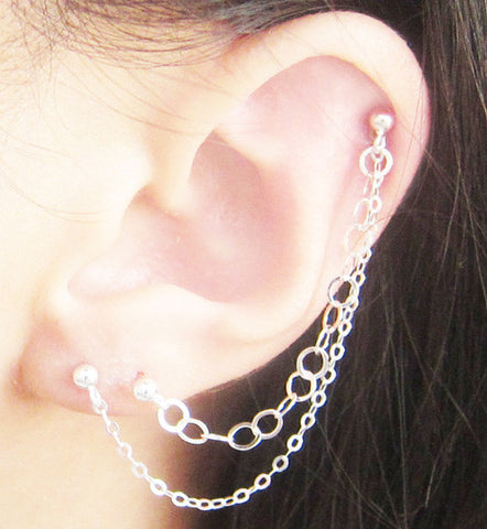 Sterling Silver Small & Large Chains Triple Piercing Earring